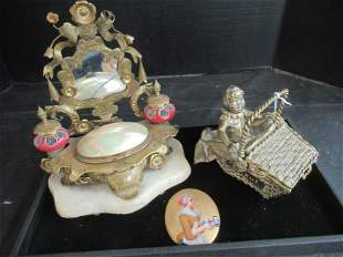 Shell Art, Brass Basket with Young Girl, Etc