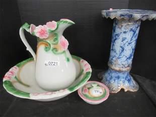 Decorative Pitcher & Bowl Set, Flo Blue Pedestal
