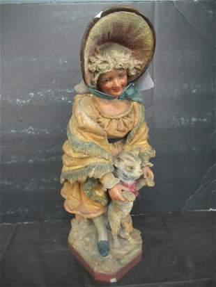 Terra Cotta Victorian Woman Holding Cat