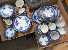 Large Lot English Touraine Pattern Pottery Dinnerware