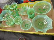 Large Group Green Art Glass incl Pitchers, etc