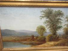 Early Landscape Oil Painting on Canvas