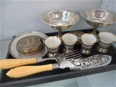 Tray with Misc Silver Pcs incl Sterling Compotes