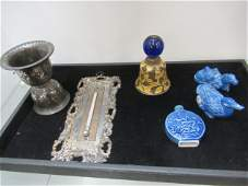 Tray of Misc items incl Carved Stone Figures etc