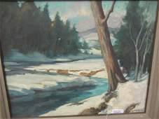 Landscape Painting of Winter Scene