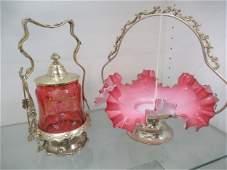 Victorian Brides Basket  Cranberry Pickle Jar