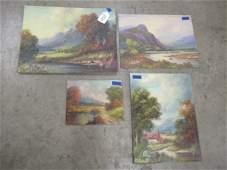 4 Paintings by Paul Wesley Arndt on Board