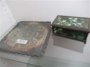 Tiffany Studios Box with Green Slag Glass