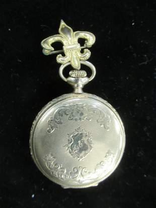 Waltham Ladies Pocket Watch, Marked 14k