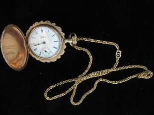Gold Filled Ladies Pocket Watch w/ 14k Chain