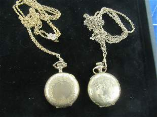 2 Fancy Ladies Gold Filled Pocket Watches