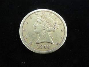 1840 $5 Gold Coin