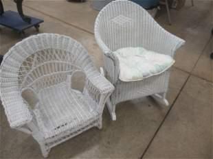 Childs Wicker Rocker and Childs Wicker Chair