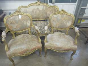 3 pc French Louis XIV Style Parlor Set