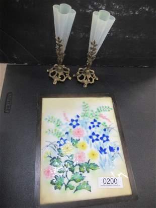 Framed Enamel of Flowers & 2 Brass/Glass Vases