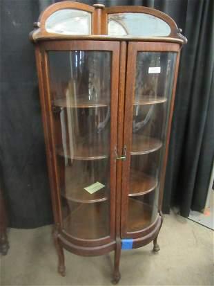 Rare Corner Oak Curved Glass China Cabinet