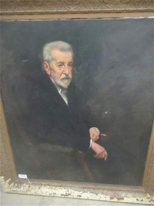 Large Painting on Canvas of Older Gentleman