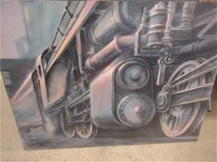 Large Painting of Locomotive Signed Schweikhard
