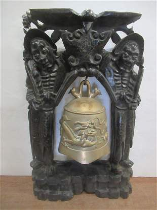 Brass Bell with a Dragon in Wood Carved Frame