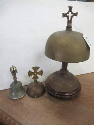 2 Brass Bells with Crosses and Another Small Bell