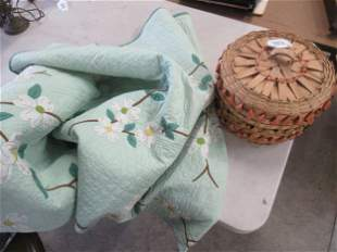 Hand Sewn Quilt with White Flowers and Basket
