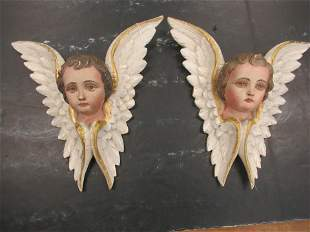 Pair of Carved Wood and Painted Angels