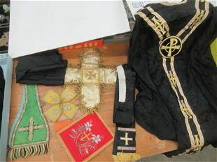 Box Lot of Early Religious Vestments