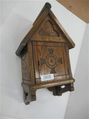 Oak Decorative Hanging Box Marked Olea Sancta