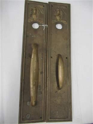 Pair of Bronze Door Handles w/ Native American Busts