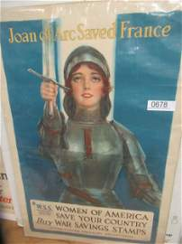 WWI Poster Joan of Arc Saved France Signed