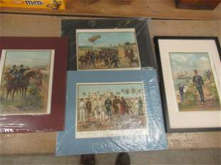 4 Colored Prints incl. Soldiers, Etc
