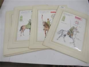 9 Military Watercolors Lancers