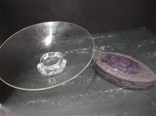 Amethyst Colored Covered Box & Glass Bowl
