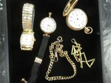 Group of Watches and Watch Chains