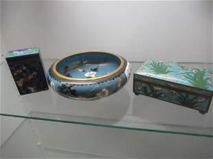 3pcs Cloisonne incl Bowl w/ Floral Design