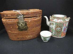 Chinese Antique Famille Rose Teapot & Cup Set