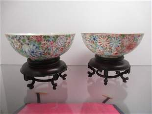 2 Chinese Antique Famille Rose Porcelain Bowls