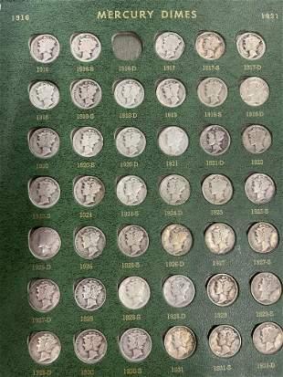 Set of Mercury Dimes & Roosevelt Dimes, etc