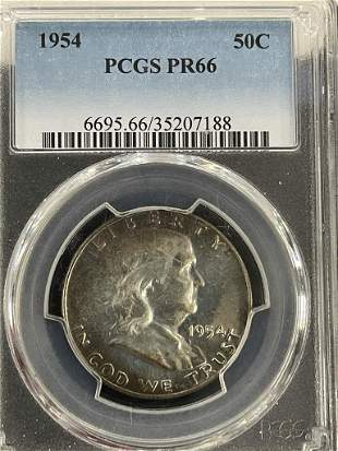 1954 Franklin Half Dollar PCGS Graded PR66