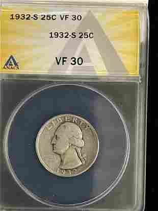 1932-S Quarter Graded VF 30