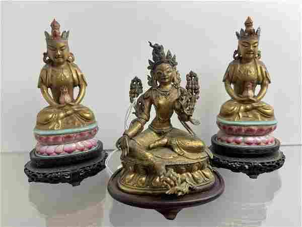 Lot of 3 Asian Figures incl Bronze Deity