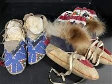 Plains Indian moccasins & Pair Mukluks