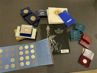 Mixed Box Lot of Commemorative Coins, Etc.