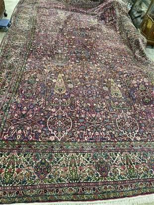 Antique Handmade Persian Kirman Oriental Rug
