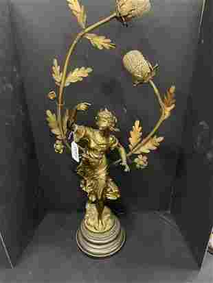 Signed Moreau Figural Lamp w/ French Foundry Mark