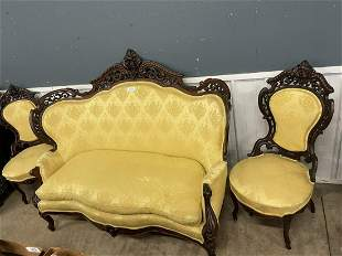 Edwin Meeks Heavily Carved 3pc Parlor Set