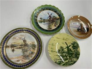 Plates w/ Windmill Scenes Hand Painted