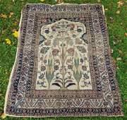 Antique Persian Pictorial Carpet Prayer Rug