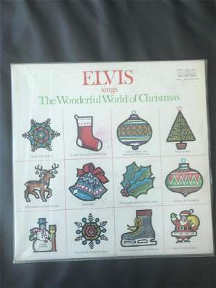 Elvis Presley Signed Wonderful World of Christmas Vinyl