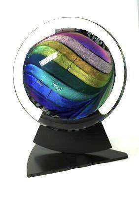 Rollin Karg Studio Art Glass Sculpture with original